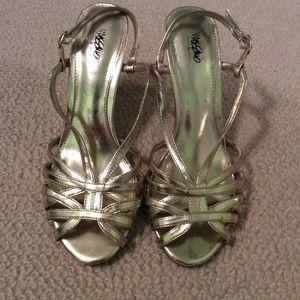 Dressy Gold Slingback Sandals/heels